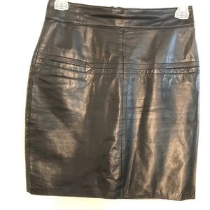 Pia Rucci Black Leather Pencil Skirt sz 10
